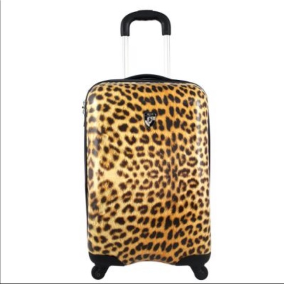Anthropologie Handbags - ✈️Anthro Leopard Print Carry On Hard Case Luggage